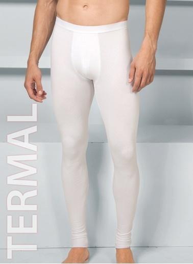 Goldenbay Erkek Normal Bel Uzun Alt Termal Sıcak Tutan İçlik Beyaz